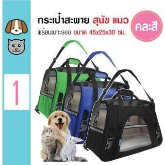 Pet Carrier กระเป๋าสะพายข้าง กระเป๋าหิ้วสัตว์เลี้ยง แบบตาข่าย สำหรับสุนัขและแมว ขนาด 45x25x30 ซม.