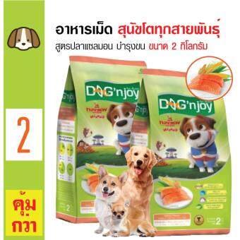 Dog 'n Joy อาหารเม็ดสุนัข สูตรปลาแซลมอน บำรุงผิวหนังและขน สำหรับสุนัขโตทุกสายพันธุ์ ขนาด 2 กิโลกรัม x 2 ถุง