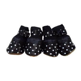 Dogacat รองเท้าสุนัข รองเท้าหมา รองเท้าแมว สีดำ ลายจุดขาว Size 3