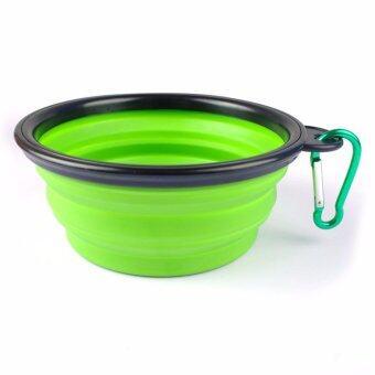ชามใส่อาหารและน้ำแบบพกพา ชามซิลิโคนพกพา พับเก็บได้ สำหรับสุนัขและแมว (สีเขียว) แถมฟรี! ที่ห้อยพวงกุญแจ ตะขอห้อย(มูลค่า50บาท)