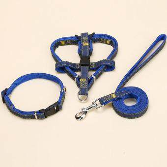 Harga 1.5*120cm Jean Dog Pet Collar/Harness+Leash Set for Cat Smal Dogs(Blue) - intl