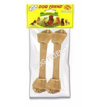 Dog Friend - ขนมขบเคี้ยวสุนัข กระดูกผูก 7 นิ้ว สีธรรมชาติ 2 ชิ้น (3 ซอง)