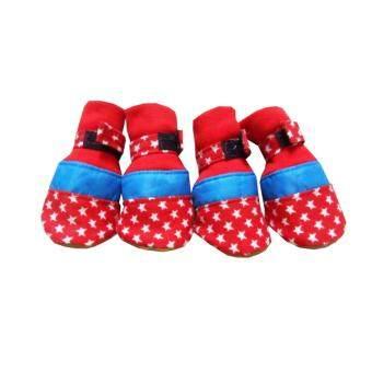 Dogacat รองเท้าสุนัข รองเท้าหมา รองเท้าแมว สีแดง แถบฟ้า Size 3