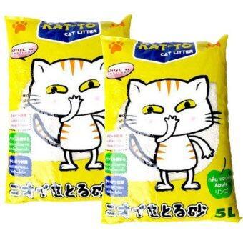 KAT-TO Cat Litter (Apple) 5 Litres x 2 Units แคทโตะ ทรายแมว กลิ่นแอปเปิ้ล ขนาด 5 ลิตร จำนวน 2ถุง