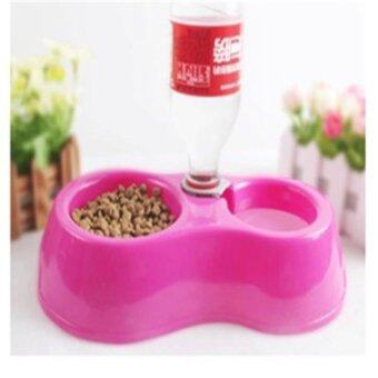 Harga Hot Sale Dual Port Dog Automatic Water Dispenser Feeder Utensils Bowl Cat Drinking Fountain Food Dish Pet Bowl - intl