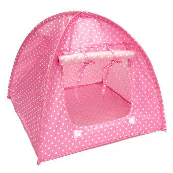 Pet Kitten Cat Kitten Mini Nylon Camp Tent Bed Play House Sun Shelter Pink - intl