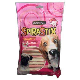 Goodies Spirastix with Strawberry & Milk 450g ขนมขัดฟัน แท่งเกลียว กลิ่นนม & สตอเบอรี่ เสริมแคลเซียม 450 กรัม