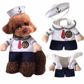 Pet Dog Cat Sailor Costume เสื้อผ้าสุนัขและแมว ชุดกะลาสีเรือ (Size S)