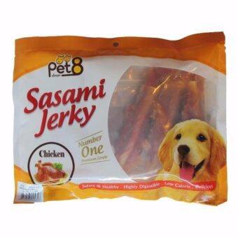 Pet8 Sasami ขนมสุนัขเนื้อสันในไก่ห่อแท่งเกลียว (JJ404) 180 g.
