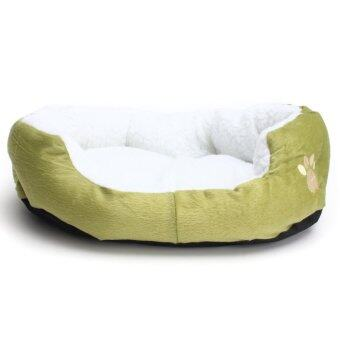 Harga Pet Dog Puppy Cat Bed House Nest Mat Pad Cozy Soft Warm Fleece Green - intl