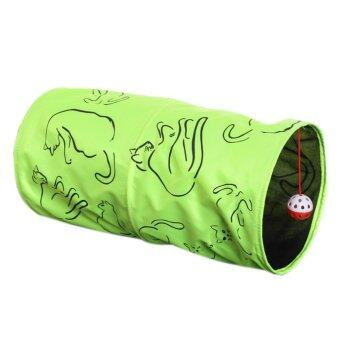 Harga 360WISH Cat Channel Collapsible Pet Cat Tunnel Drill Folding Tent Nest Cat Toys - Green - intl
