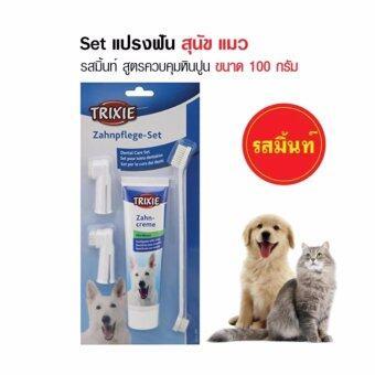 TRIXIE DENTAL SET ชุดแปรงสีฟัน ยาสีฟันสุนัข ยาสีฟันแมวรสมินท์ สูตรควบคุมหินปูน ขนาด 100 กรัม
