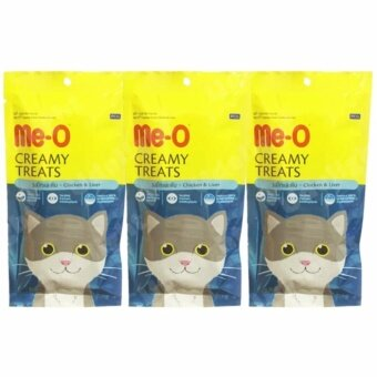 Me-O (Meo) Cat Treat Chicken and Liver Flavor 60g (3 units) มีโอ ขนมแมวเลีย รสไก่และตับ 60 กรัม (3 ห่อ)