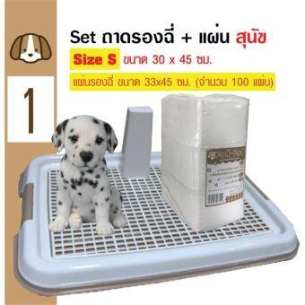 Dog Toilet ถาดฝึกฉี่ ถาดรองฉี่ ห้องน้ำสุนัข แบบมีเสา Size S 30x45 ซม. + Dok Dok แผ่นรองซับสัตว์เลี้ยง แผ่นรองฉี่สุนัข แผ่นอนามัยสัตว์เลี้ยง 30x45cm (100 แผ่น)