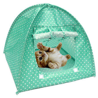 Pet Kitten Cat Kitten Mini Nylon Camp Tent Bed Play House Sun Shelter Green - intl (image 4)