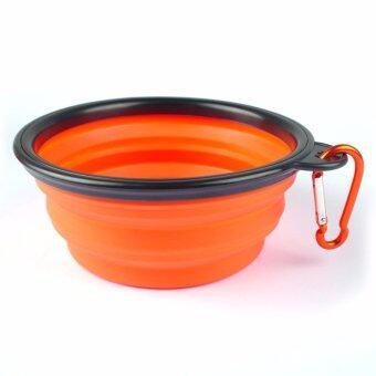 ชามใส่อาหารและน้ำแบบพกพา ชามซิลิโคนพกพา พับเก็บได้ สำหรับสุนัขและแมว (สีส้ม) แถมฟรี! ที่ห้อยพวงกุญแจ ตะขอห้อย(มูลค่า50บาท)
