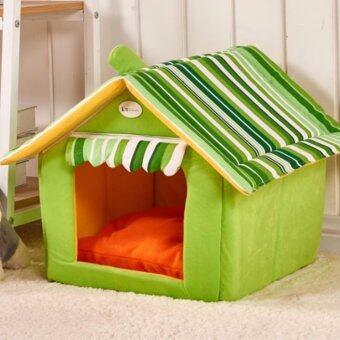 Lek and Love บ้านสัตว์เลี้ยง บ้านหมา บ้านแมว ขนาด 40 x 35 (M) สีเขียว