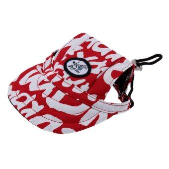 Harga BolehDeals Small Pet Dog Cat Kitten Letter Baseball Hat Neck Strap Cap Sunbonnet M Red - intl