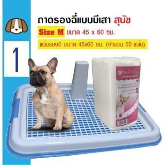 Dog Toilet ถาดฝึกฉี่ ถาดรองฉี่ ห้องน้ำสุนัข แบบมีเสา Size M 45x60 ซม. + Dok Dok แผ่นรองซับสัตว์เลี้ยง แผ่นรองฉี่สุนัข แผ่นอนามัยสัตว์เลี้ยง 45x60cm (50 แผ่น)