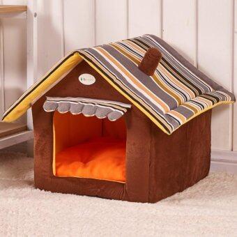Lek and Love บ้านสัตว์เลี้ยง บ้านหมา บ้านแมว ขนาด 35 x 30cm (S) สีน้ำตาล