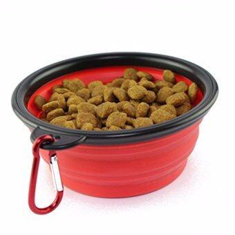 ชามใส่อาหารและน้ำแบบพกพา ชามซิลิโคนพกพา พับเก็บได้ สำหรับสุนัขและแมว (สีแดง) แถมฟรี! ที่ห้อยพวงกุญแจ ตะขอห้อย(มูลค่า50บาท)