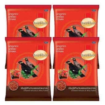 Smartheart อาหารนก นกขุนทอง นกเอี้ยง สูตร เพิ่มภูมิต้านทาน และ ขนสวยเงางาม 1Kg (4 ถุง) Mynah Food Enhanced Immunity&Shinny Feather 1Kg (4 bags)