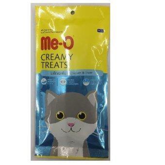 Me-o Creamyขนมแมวเลีย รสไก่และตับ รุ่น4ซอง ซองละ15g