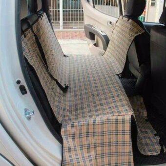 ผ้าคลุมเบาะรถยนต์สำหรับสุนัข (สก๊อต ครีม)