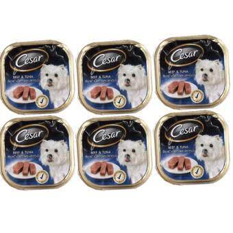 Cesar อาหารเปียกสำหรับสุนัข ซีซาร์เนื้อวัวและปลาทูน่า 100g. (6 Unit)