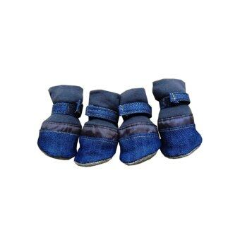 Dogacat รองเท้าสุนัข รองเท้าหมา รองเท้าแมว ขอบยีนส์ - สีน้ำเงิน Size 4