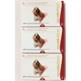 Revolutionสุนัข น้ำหนัก 10.1-20 กก. (แดง) ยาหยดกำจัดเห็บหมัด ไร กันพยาธิหนอนหัวใจ x3กล่อง(9หลอด)