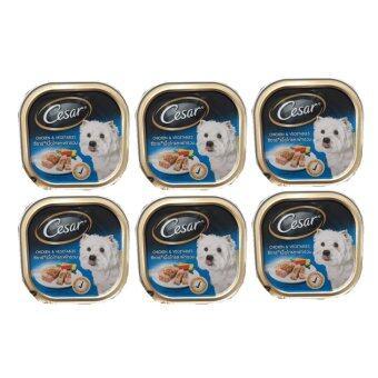 Cesar อาหารเปียกสำหรับสุนัข ซีซาร์รสเนื้อไก่และผักรวม 100g. (6 Unit)