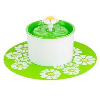 เครื่องให้น้ำ น้ำพุแมว-สุนัข รุ่น Flower 1.6 ลิตร (ขาว-เขียว) + แผ่นรอง