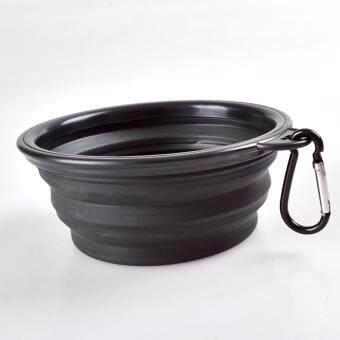 ชามใส่อาหารและน้ำแบบพกพา ชามซิลิโคนพกพา พับเก็บได้ สำหรับสุนัขและแมว (สีดำ) แถมฟรี! ที่ห้อยพวงกุญแจ ตะขอห้อย(มูลค่า50บาท)