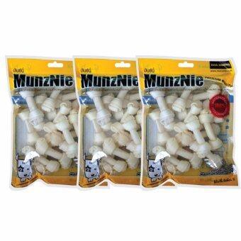 MUNZNIE ขนมขบเคี้ยวสำหรับสุนัข กระดูกผูก 2.5 นิ้ว รสนม บรรจุ 12 ชิ้น (x3 packs)