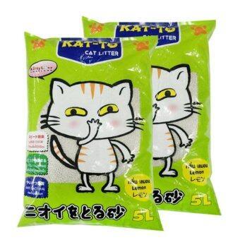 KAT-TO Cat Litter (Lemon) 5 Litres x 2 Units แคทโตะ ทรายแมวกลิ่นมะนาว ขนาด 5 ลิตร จำนวน 2ถุง
