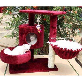 คอนโดแมว ที่นอนแมว ของเล่นแมว บ้านแมว ที่ลับเล็บแมว ที่ฝนเล็บแมว สีแดงไวน์