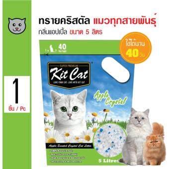 จัดโปรโมชั่น Kit Cat ทรายแมวคริสตัล กลิ่นแอปเปิ้ล ใช้ได้นาน 40 วันสำหรับแมวทุกวัย ขนาด 5 ลิตร