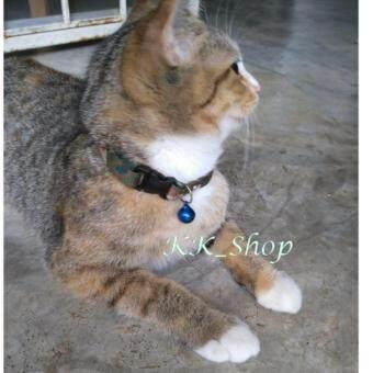 KK_Shop สายคล้องคอ-ปลอกคอน้องหมา/น้องแมว+กระดิ่ง (1ชิ้น) Smallesไซส์เล็กสุด พิมพ์ลายทหารน้ำตาลแดง