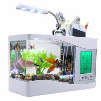 Mini USB LCD Desktop Fish Tank Aquarium Clock Timer Calendar color:White - intl