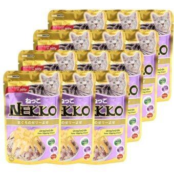 Nekko Tuna Topping Cheese 70g x 12units เน็กโกะ\nสูตรปลาทูน่าหน้าชีสในเยลลี่ ขนาด70กรัม จำนวน 12ซอง