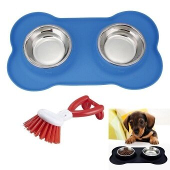 niceEshop Stainless Steel Dog Bowls Double Bowls For Dogs Cats\nSmall Pets With No Spill Non-Skid Silicone Mat 30.7oz Pet Bowls\nDog Cat Food Water Feeder + Free Brush Gift - intl