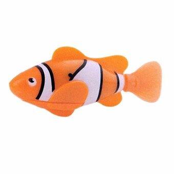 หุ่นยนต์ปลาสีส้ม ของเล่นปลาว่ายน้ำอัตโนมัติเสมือนจริง พร้อมแบตเตอรี่และสำรอง