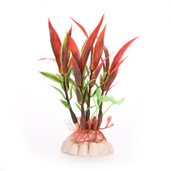 Red Green Plastic Plant Grass for Aquarium Decoration Red - intl