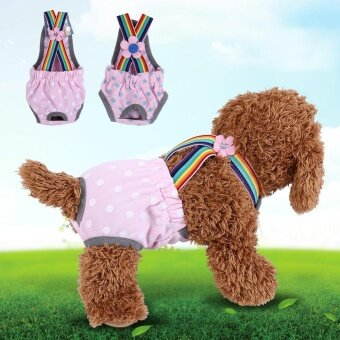 Reusable Washable Female Dog Diaper Menstrual Suspender Cotton Pants(Dot Pink XL) - intl - 3