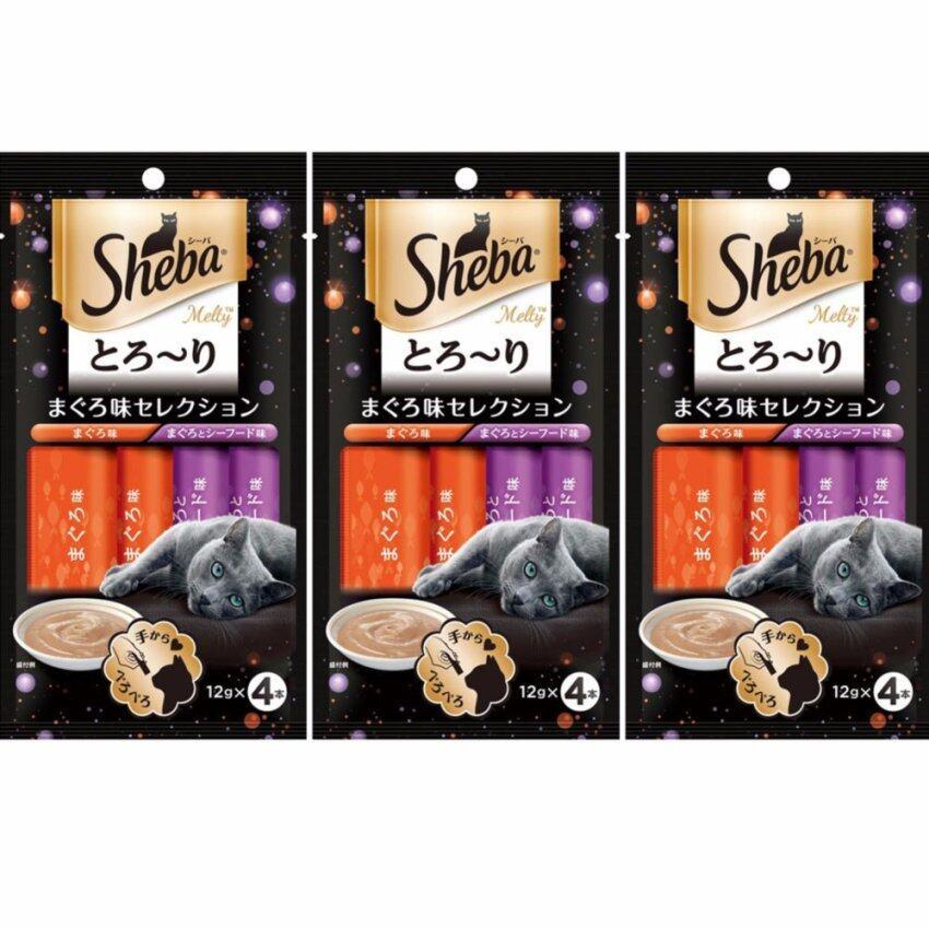 Sheba Melty Tuna and Tuna & Seafood Flavor 48g.(12g. x 4pc.) ขนมแมวเลียชีบาเมลตี้ รสทูน่า (2 ซอง) และรสทูน่าและซีฟู้ด (2 ซอง) (3 Unit)