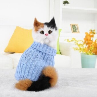 Harga Small Pet Puppy Cat Dog Sweater Warm Clothes Knit Coat Winter Apparel Costumes (Blue M) - intl