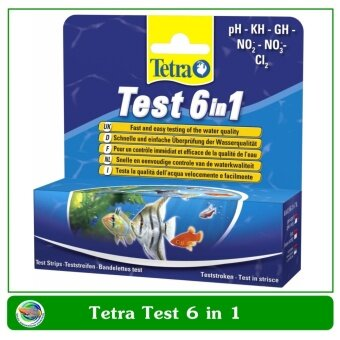 Tetra Test 6 in 1 สำหรับทดสองค่า pH ไนเตรท ไนไตรท์ คาร์บอเนต คลอรีน และค่าความกระด้างของน้ำ