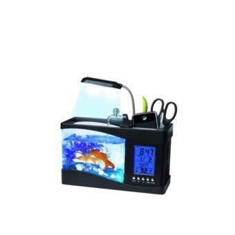 ตู้ปลามินิแบบตั้งโต๊ะ (สีดำ) อเนกประสงค์ขนาด 1.5 ลิตร พร้อมโคมไฟและนาฬิกาดิจิตอล