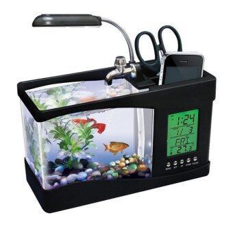 ตู้ปลา USB อเนกประสงค์ หรือปลั๊กเสียบ เป็นที่ใส่อุปกรณ์เครื่องเขียน มีนาฬิกา ตั้งปลุกได้ (Black)